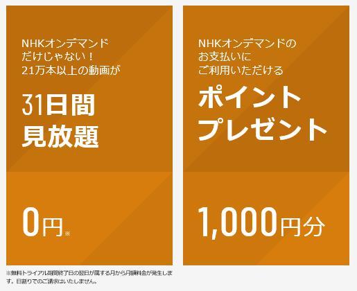 U-NEXT NHKオンデマンド 特典